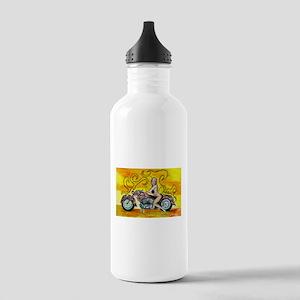 popart Motorcycle girl Sports Water Bottle