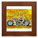 popart Motorcycle girl Framed Tile