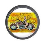 popart Motorcycle girl Wall Clock