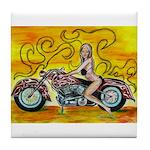 popart Motorcycle girl Tile Coaster