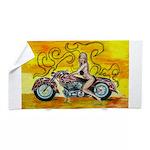 Popart Motorcycle Girl Beach Towel