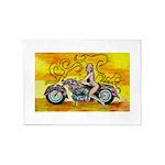 popart Motorcycle girl 5'x7'Area Rug