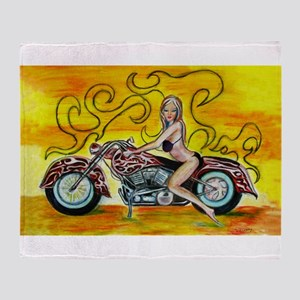 popart Motorcycle girl Throw Blanket