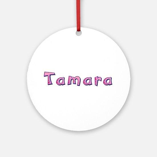 Tamara Pink Giraffe Round Ornament