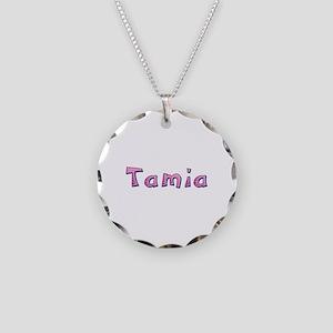 Tamia Pink Giraffe Necklace Circle Charm