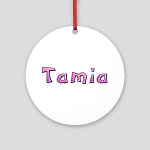Tamia Pink Giraffe Round Ornament