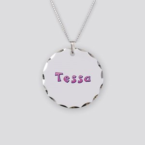 Tessa Pink Giraffe Necklace Circle Charm
