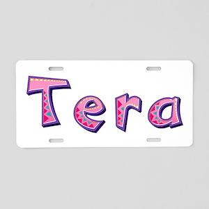 Tera Pink Giraffe Aluminum License Plate