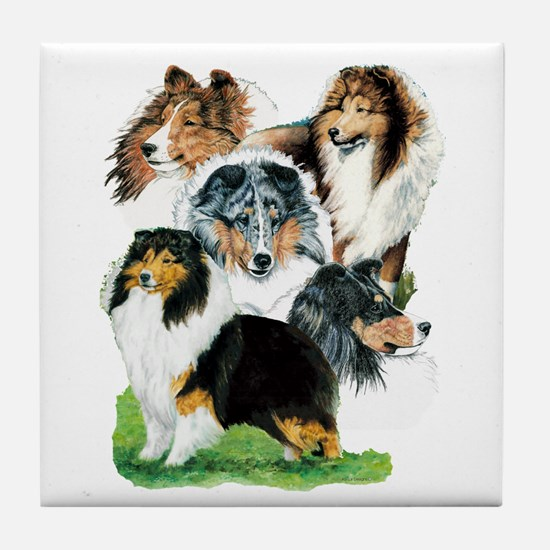 Sheltie Group Tile Coaster