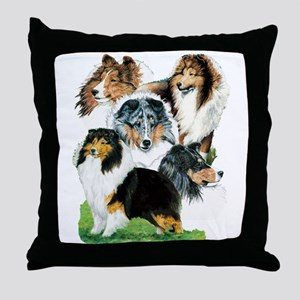 Sheltie Group Throw Pillow