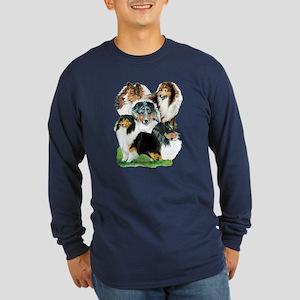 Sheltie Group Long Sleeve Dark T-Shirt