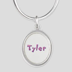 Tyler Pink Giraffe Silver Oval Necklace
