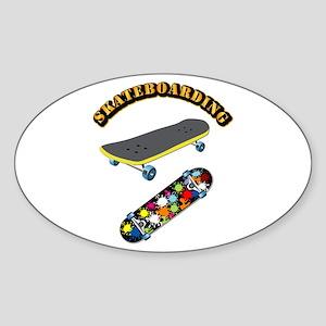 Skateboard - Skateboarding Sticker (Oval)