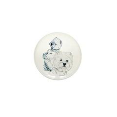 Westie Pair Mini Button (100 pack)