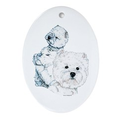 Westie Pair Oval Ornament