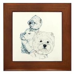 Westie Pair Framed Tile