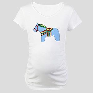 Blue Dala Horse Maternity T-Shirt