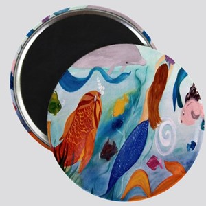 Mermaid and Tropical Fish party art Magnet