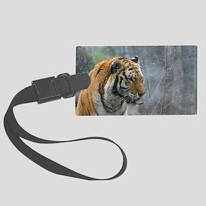 Tiger Tongue by Leslie Wainger Large Luggage Tag