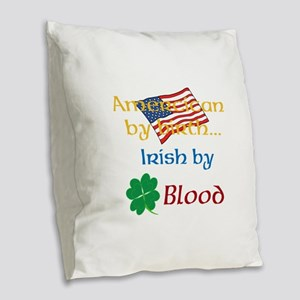 American By Birth Burlap Throw Pillow