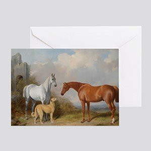 Two Horses and a Deerhound Greeting Cards