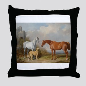 Two Horses and a Deerhound Throw Pillow