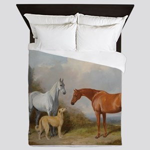 Two Horses and a Deerhound Queen Duvet