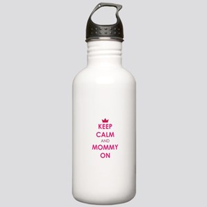 Keep Calm and Mommy On pink Water Bottle