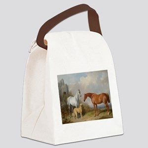 Two Horses and a Deerhound Canvas Lunch Bag