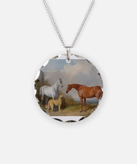 Two Horses and a Deerhound Necklace