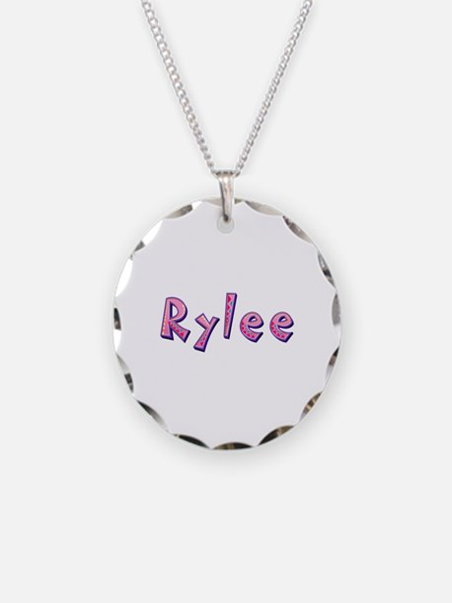 Rylee Pink Giraffe Necklace Circle Charm
