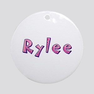 Rylee Pink Giraffe Round Ornament