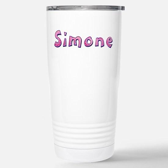 Simone Pink Giraffe Stainless Steel Travel Mug