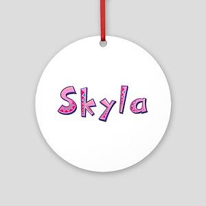 Skyla Pink Giraffe Round Ornament