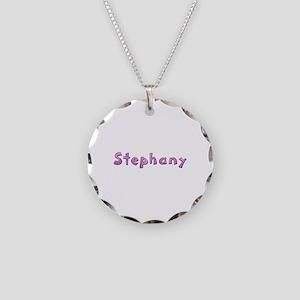 Stephany Pink Giraffe Necklace Circle Charm