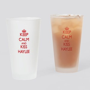 Keep Calm and Kiss Haylee Drinking Glass