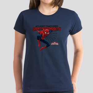 Spiderman: With Great Power Women's Dark T-Shirt