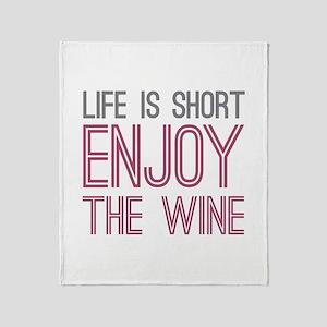 Life Short Wine Throw Blanket