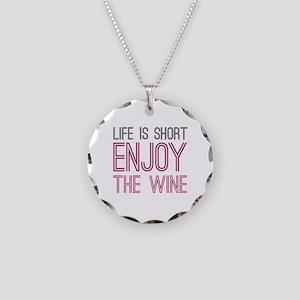 Life Short Wine Necklace Circle Charm