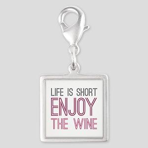 Life Short Wine Silver Square Charm