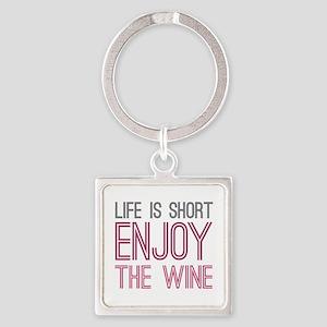 Life Short Wine Square Keychain