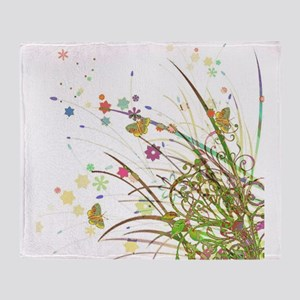 Flowers and Butterflies Throw Blanket