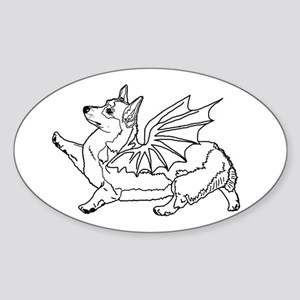 Welsh Corgon - Line Drawing - Sticker (Oval)