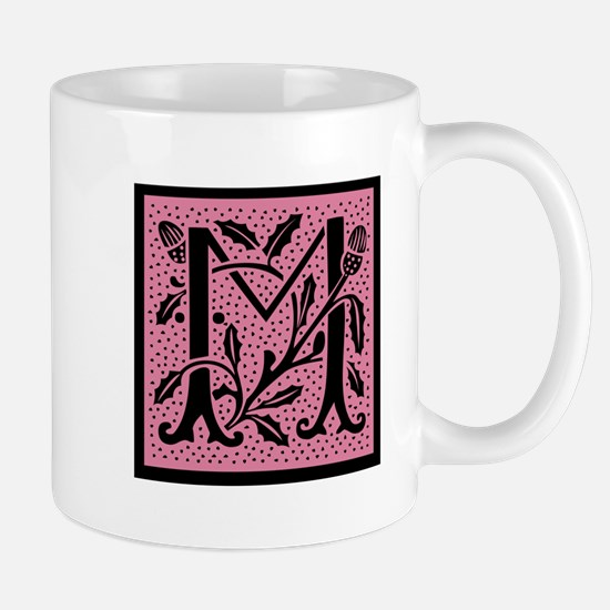 Pink Fleur Monogram M Mug