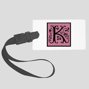 Pink Fleur Monogram K Large Luggage Tag