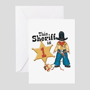 1st birthday cowboy greeting cards cafepress sheriff first birthday greeting cards pk of 10 m4hsunfo