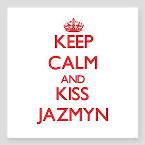 "Keep Calm and Kiss Jazmyn Square Car Magnet 3"" x 3"