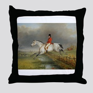 Clearing the Fence on the Hunt Throw Pillow