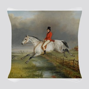 Clearing the Fence on the Hunt Woven Throw Pillow