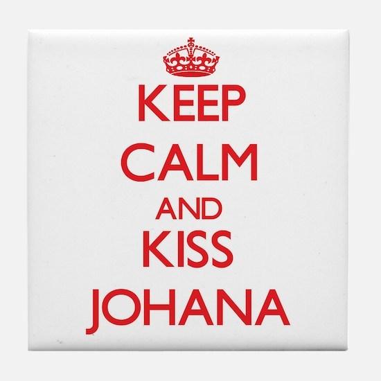Keep Calm and Kiss Johana Tile Coaster